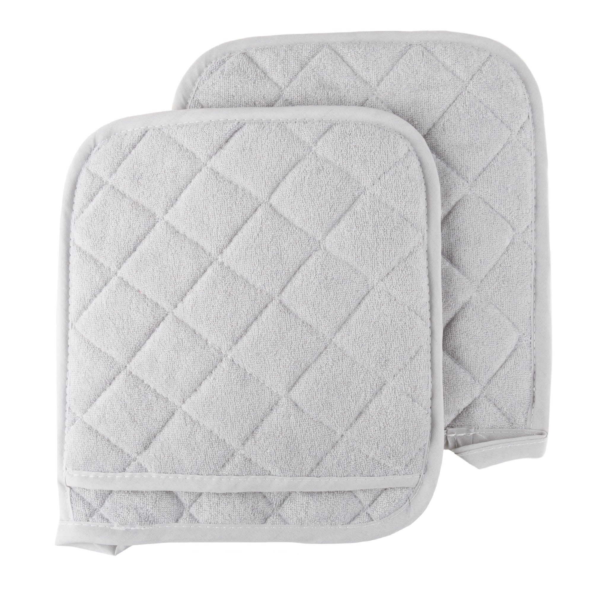 Pot Holder Set, 2 Piece Oversized Heat Resistant Quilted Cotton Pot Holders By Lavish Home (Silver) by Lavish Home