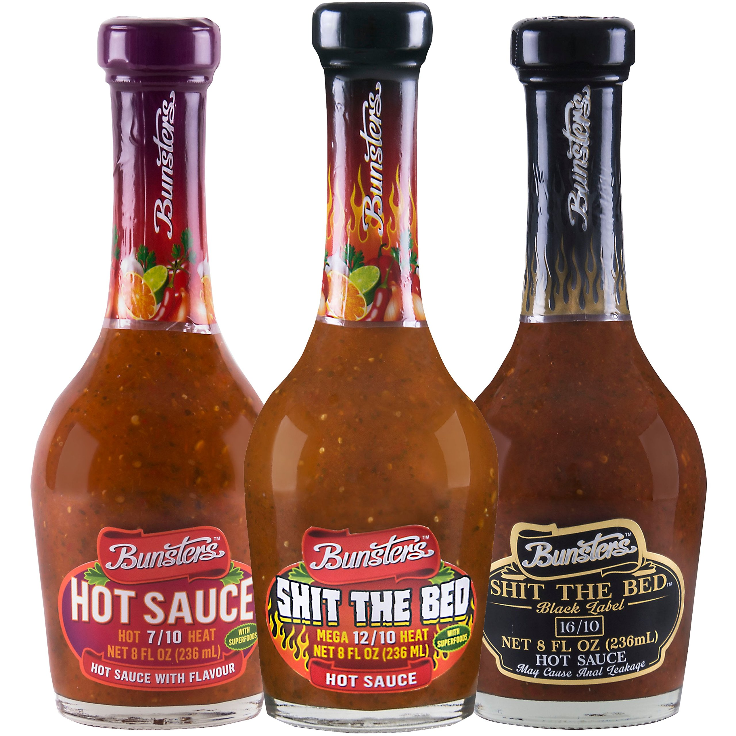 Bunsters Hot Chili Pepper Sauce - 3 Pack Set - Including Shit the Bed Hot Sauce, 8 fl oz by Bunsters (Image #1)