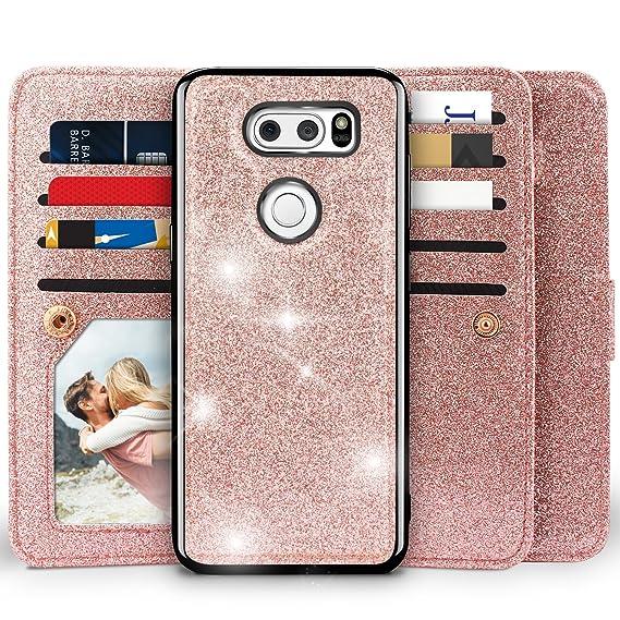 new product 68217 25fe9 LG V30 Case,LG V30 Plus/V30S Case, Miss Arts Detachable Magnetic Case with  Car Mount Holder, 9 Card Slots, Wrist Strap, Kickstand Function, PU Leather  ...