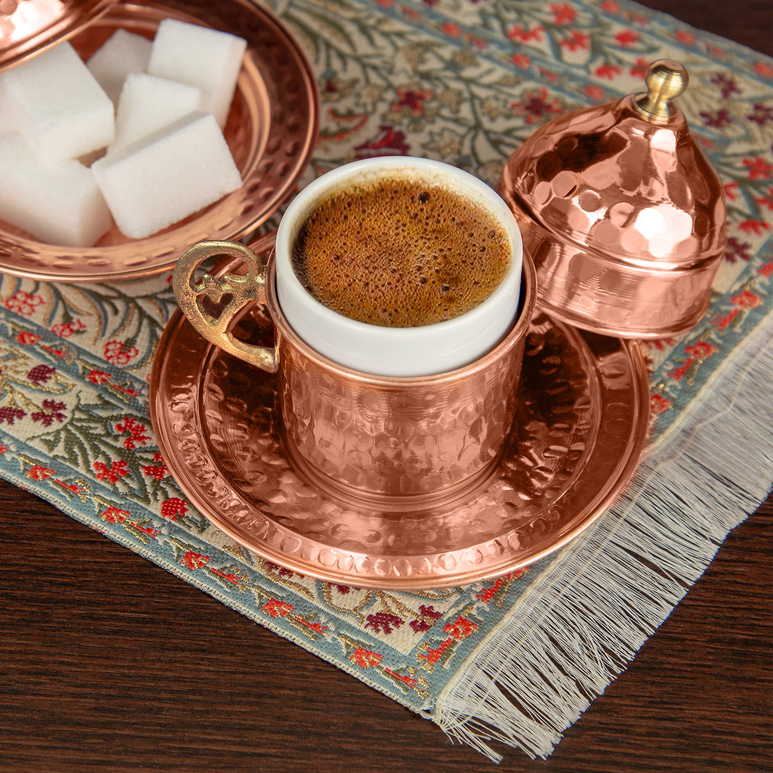 Handmade Copper Turkish Coffee Set of 6 Cups with Cezve, Saucers, Serving Bowl with Tray – Decorative Handcrafted Ottoman Style Demitasse 28pc Gift Pack Kit with Armenian Espresso Mugs, Arabic Dish by Mandalina Magic (Image #8)