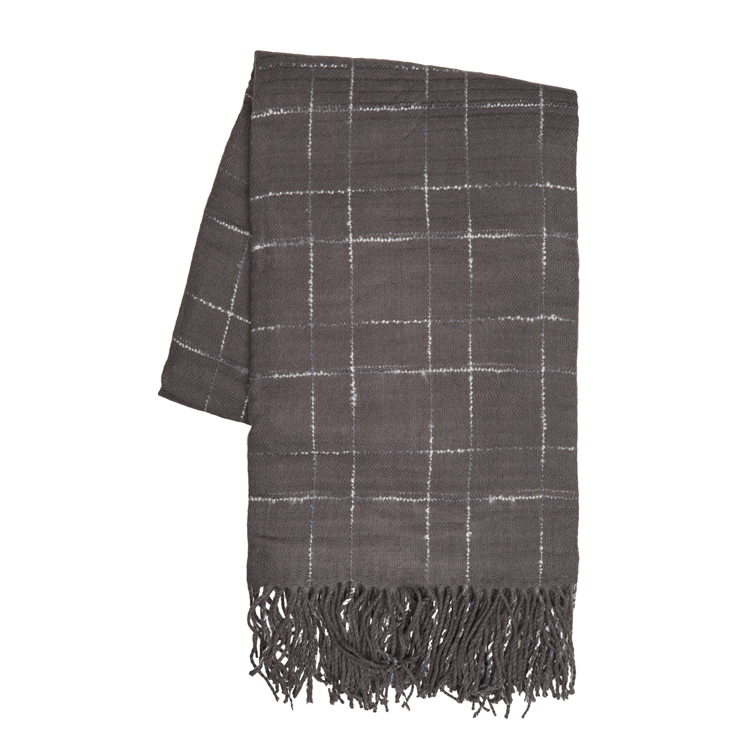 SLPR Extra Soft Check Farmhouse Throw Blanket with Fringed Edge (50'' x 60'', Charcoal) | Wrapped with Ribbon Warm Lightweight
