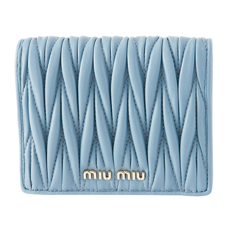 ミュウミュウ(MIU MIU) 2つ折り財布 5MV204 N88 F0637 マテラッセ ライトブルー 水色 [並行輸入品] B07DCGZDZ8