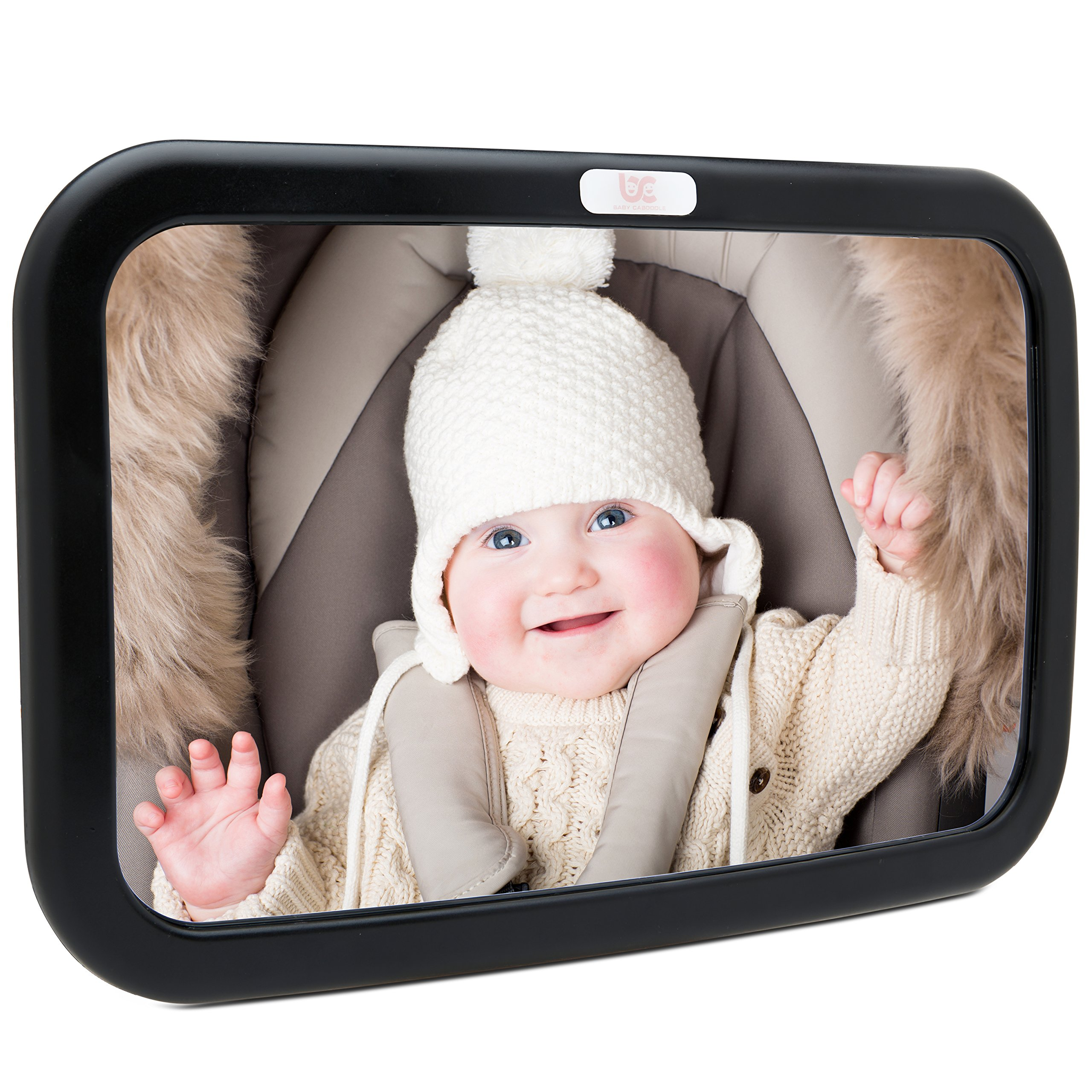 Baby Car Mirror, Car Seat Mirror, Safely Monitor Infant Child in Rear Facing Car Seat, Wide View Shatterproof Adjustable Acrylic 360°for Backseat by Baby Caboodle