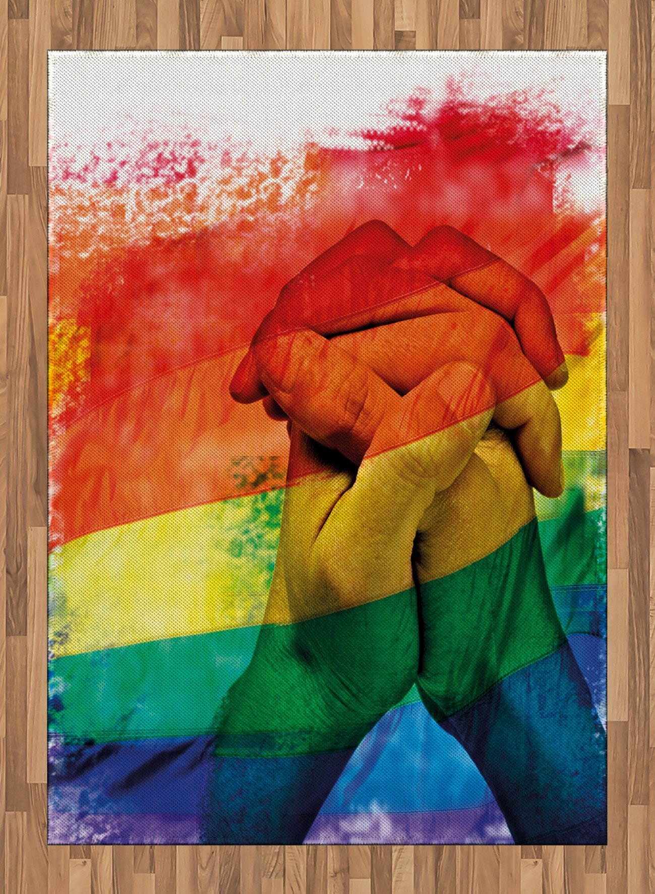 Pride Area Rug by Ambesonne, Hands of Young Men Put Together on Abstract LGBT Parade Flag Love Wins Gay Partners, Flat Woven Accent Rug for Living Room Bedroom Dining Room, 5.2 x 7.5 FT, Multicolor