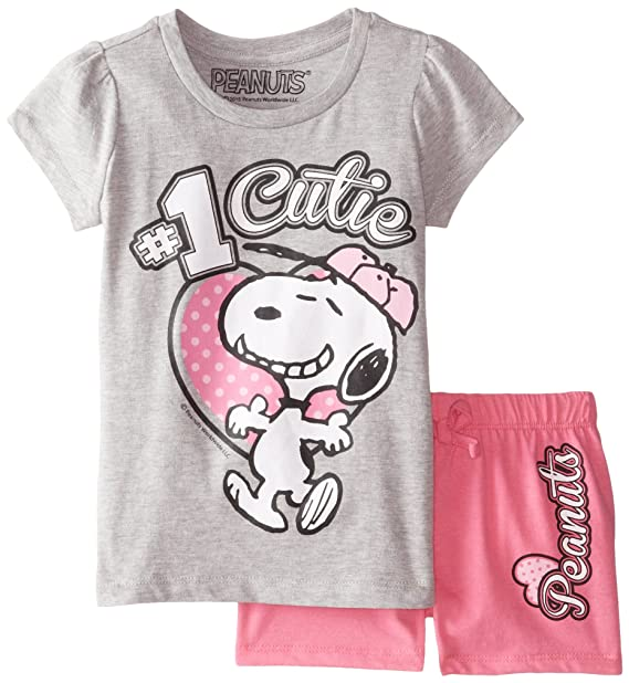7c73776a6426a7 Amazon.com: Peanuts Girls' 2pc T-Shirt and Short Set: Clothing