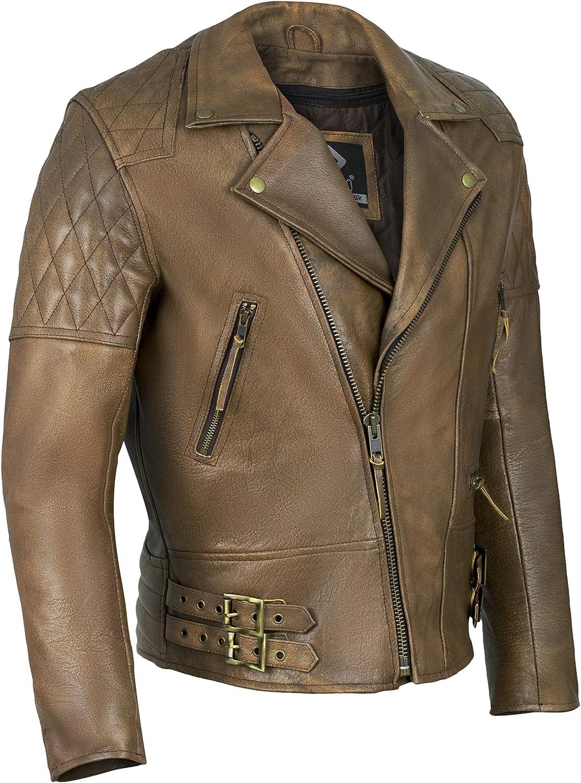 Chaqueta de cuero para hombre, de Gallanto, vintage, color marrón, diseño clásico de rombos, ideal para motociclista