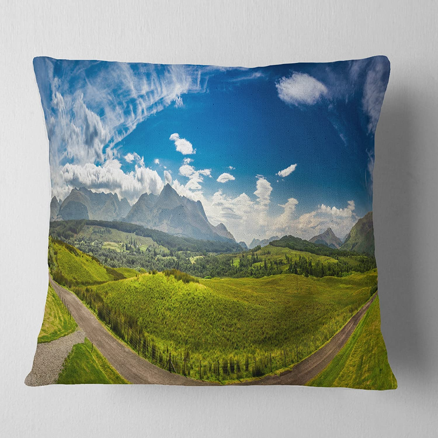 Designart CU11068-16-16 Scottish Highlands Panoramic View' Landscape Printed Cushion Cover for Living Room, Sofa, Throw Pillow, 16' x 16',