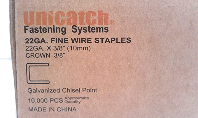 10,00pcs//Box Similar to BEA 7110 and Senco C06 Unicatch 22 Gauge 71 Series 3//8 Inch Crown by 3//8 Inch Leg Length Galvanized Fine Wire Staples or Upholstery Staples