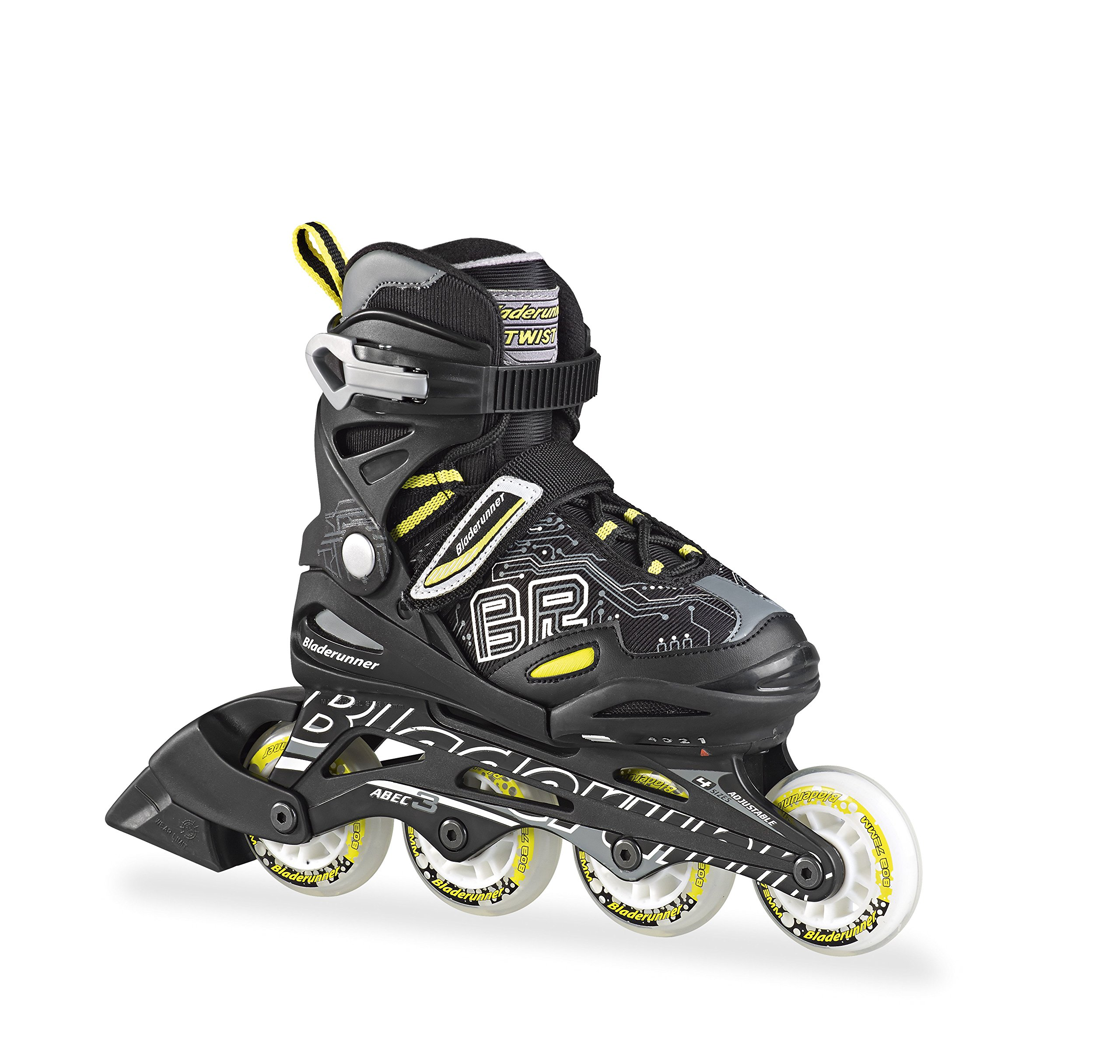 Bladerunner - Twist Junior Adjustable Skate - 4 Sizesper Skate - Black - 5 to 8, 4 Size Adjustable US 5 to 8