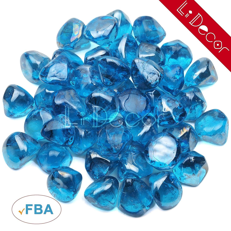 Li Decor Fire Glass Fireglass Diamonds Outdoors Indoors 1 Inch 10 Pounds Cobalt Blue Luster