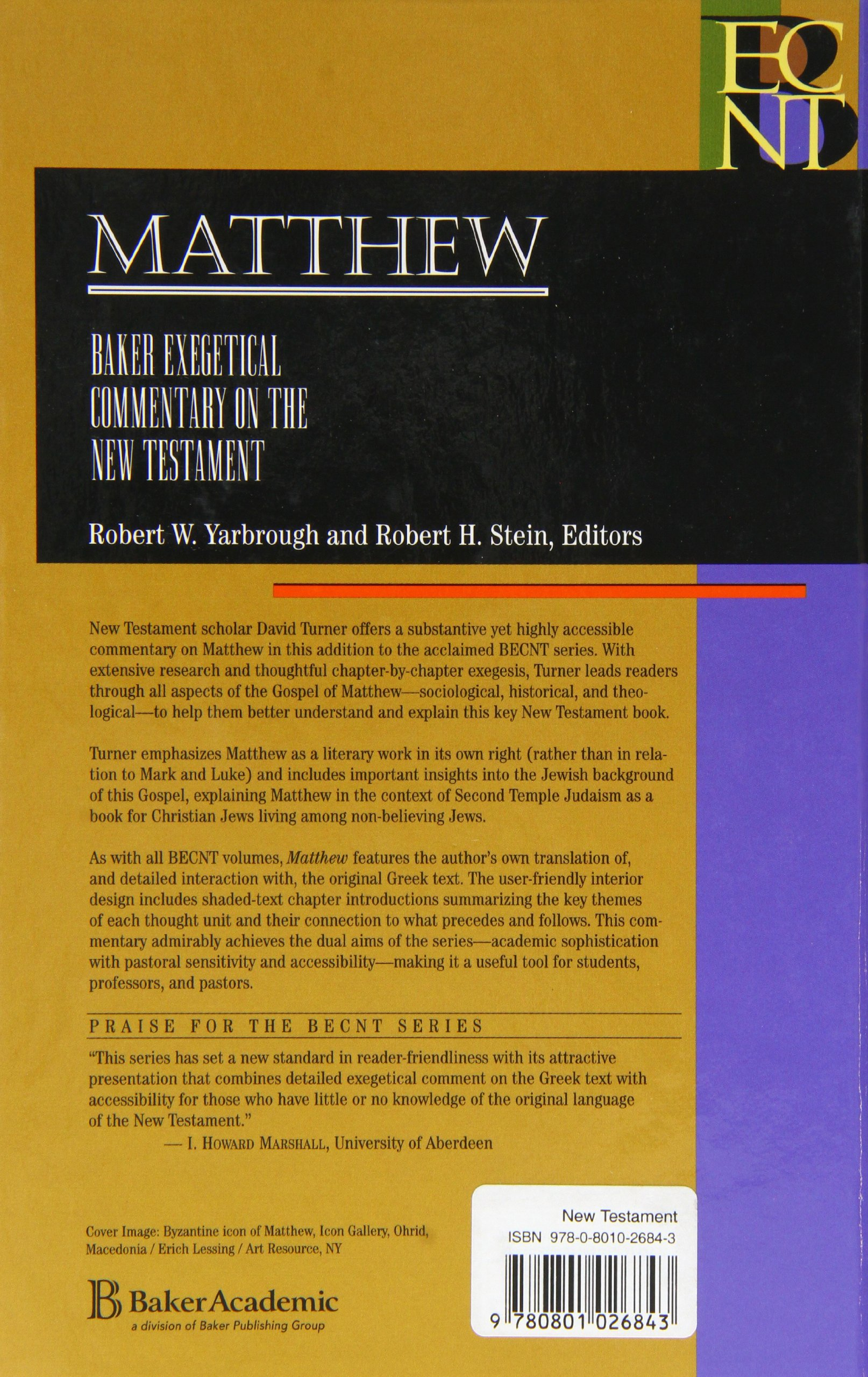 Matthew (Baker Exegetical Commentary on the New Testament): David L.  Turner: 9780801026843: Amazon.com: Books