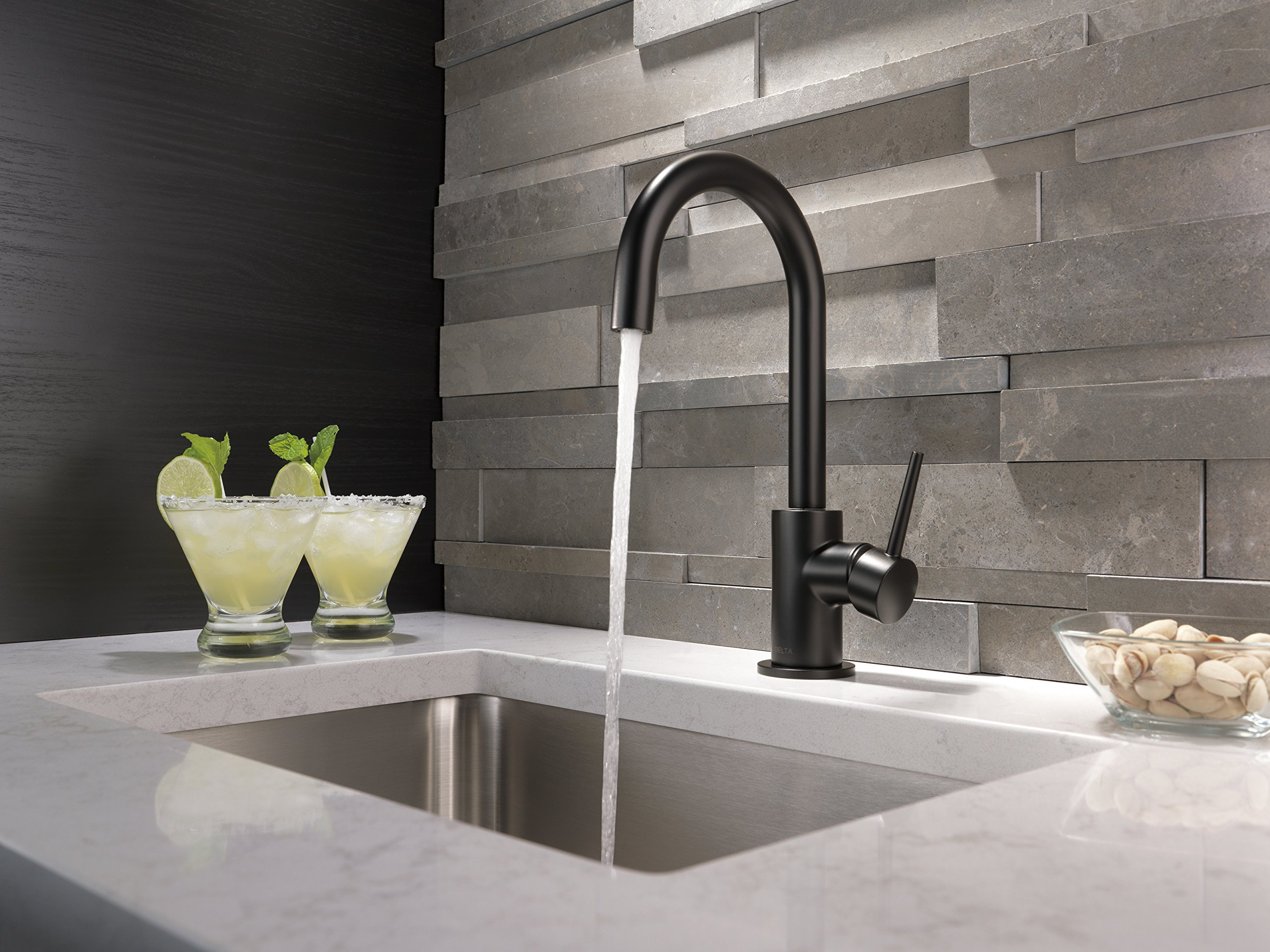 Delta Faucet Trinsic Single-Handle Bar-Prep Kitchen Sink Faucet, Matte Black 1959LF-BL by DELTA FAUCET (Image #2)