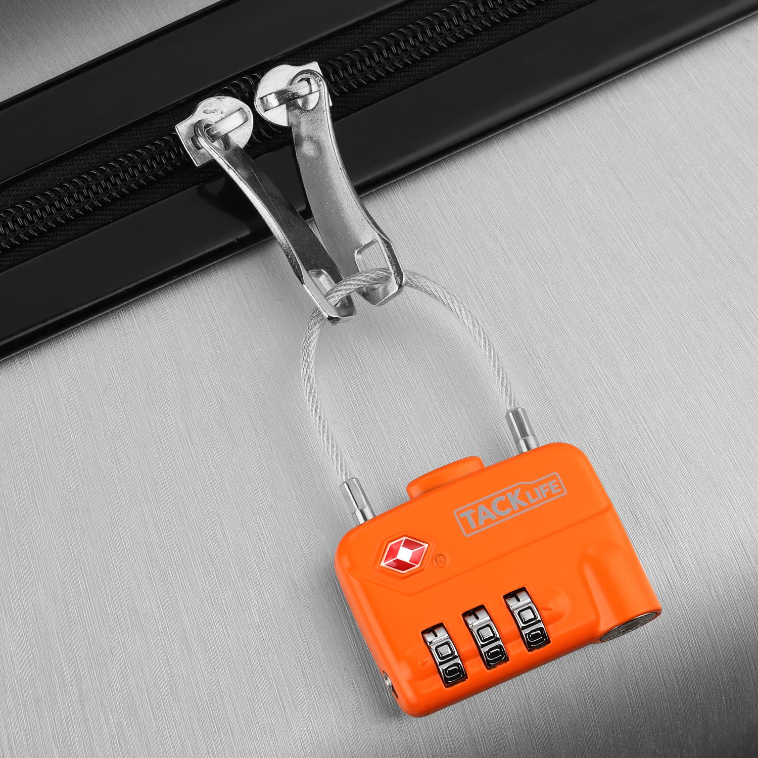 Luggage Locks, TACKLIFE HCL1A Cable Locks, TSA Approved Travel Locks, Flexible Locks, 3Digit Combination Locks for Gym, School, Locker, Outdoor, Fence, Suitcase & Baggage - Orange by TACKLIFE (Image #5)