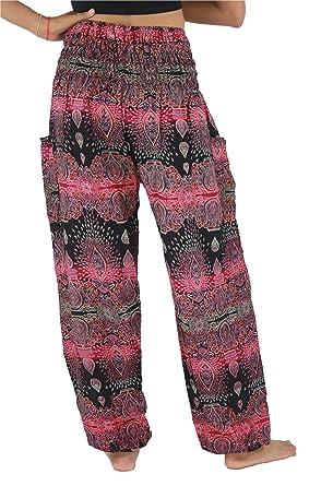 NaLuck - Pantalones hippies boho para mujer de rayón 11d88700868d