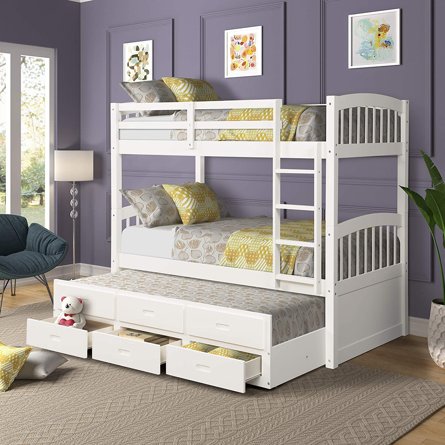 Solid Wood Bunk Kids Teens Adult, Twin Bed,with Ladder, Safety Rail,Trundle,and 3 Storage Drawers Can be Divided into 2, White
