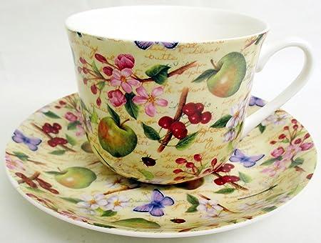 Secret Garden Large Cup /& Saucer Bone China Breakfast Set Hand Decorated in UK