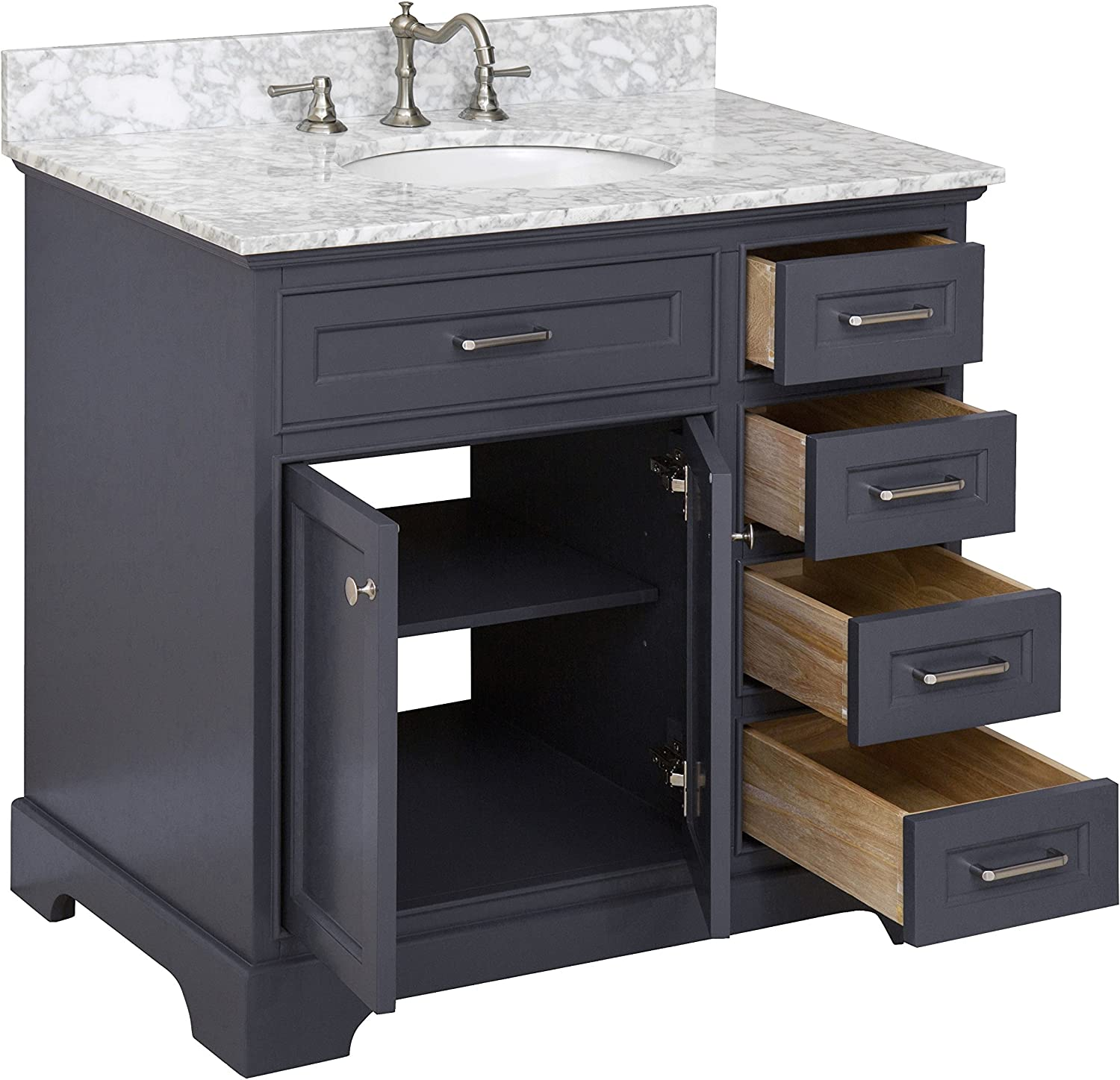 Amazon Com Aria 36 Inch Bathroom Vanity Carrara Charcoal Gray Includes Charcoal Gray Cabinet With Authentic Italian Carrara Marble Countertop And White Ceramic Sink Home Improvement