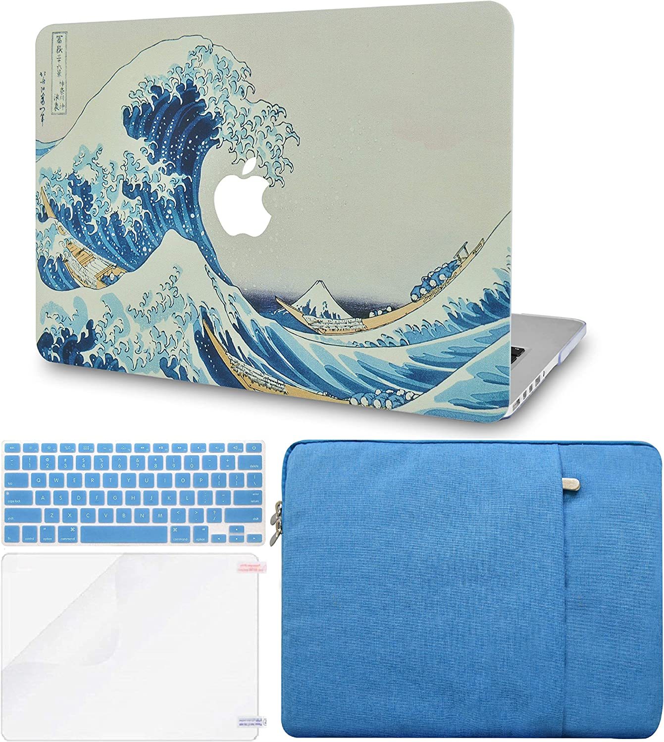 LuvCase 4 in 1 LaptopCase forMacBookAir 13 Inch A1466 / A1369 (No Touch ID)(2010-2017) HardShellCover, Sleeve, Keyboard Cover & Screen Protector(Japanese Wave)