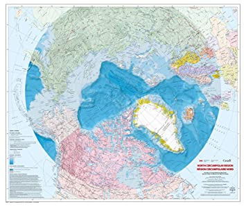 Amazon.com : North Circumpolar Region Wall Map - Bilingual ...