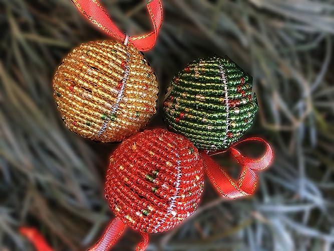 Beaded Christmas Ornaments.Amazon Com Christmas Ornaments Handmade Christmas