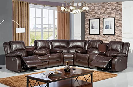 McFerran Home Furniture Bonded Leather Sofa Sectional SF3592 Brown : leather furniture sectional - Sectionals, Sofas & Couches