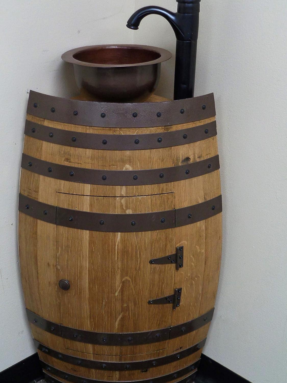 Amazon: Mini Oak Wine Barrel Corner Bathroom Vanity Sink Includes  Copper Sink And
