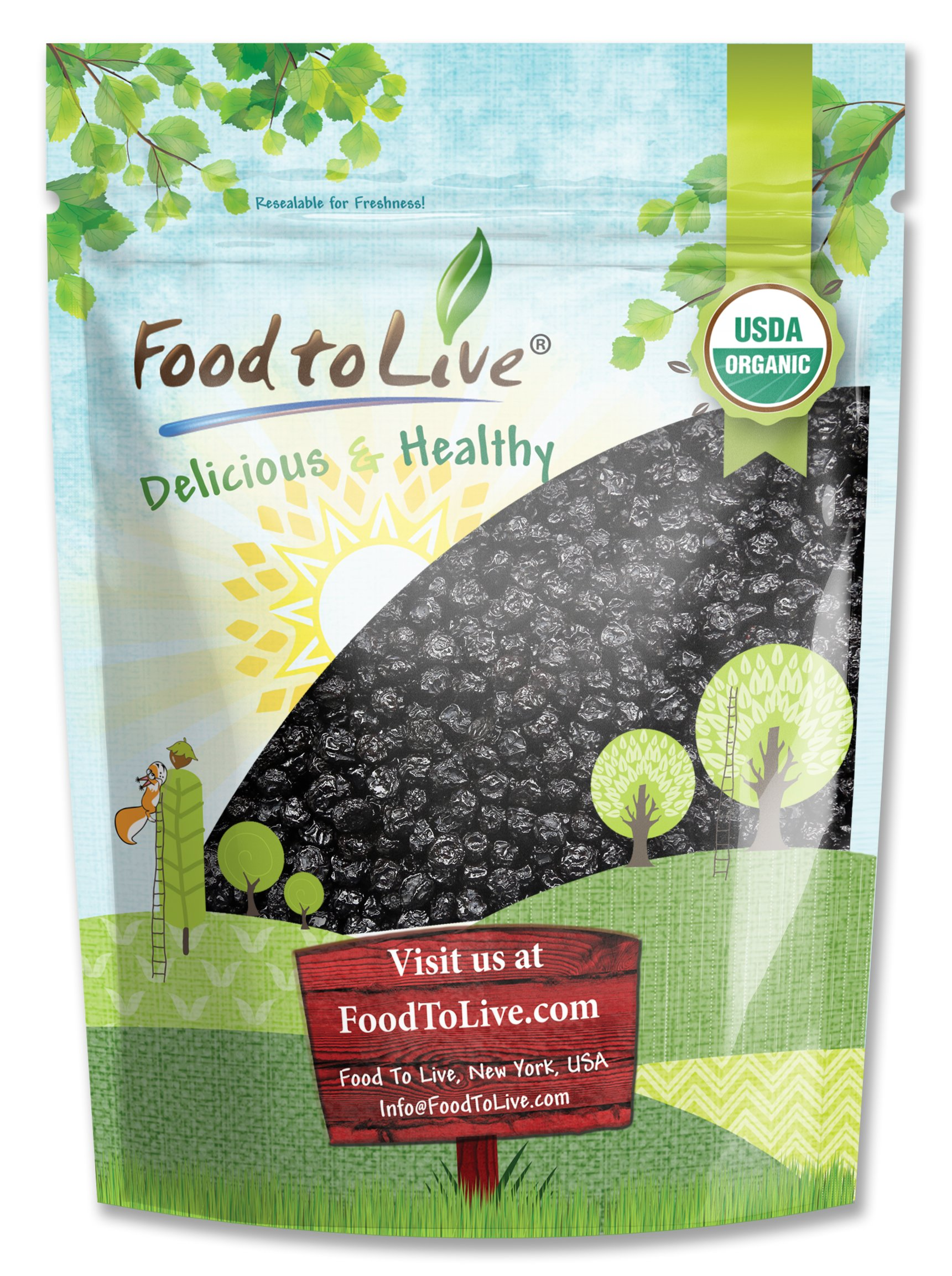 Food to Live Certified Organic Dried Blueberries (Non-GMO, Unsulfured, Bulk) (2 Pounds)