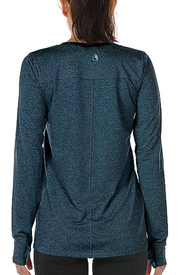 icyzone T-Shirt Sport à Manches Longues Femme - Poignets élastiques avec  Trous de Pouce bef3d2fa28a