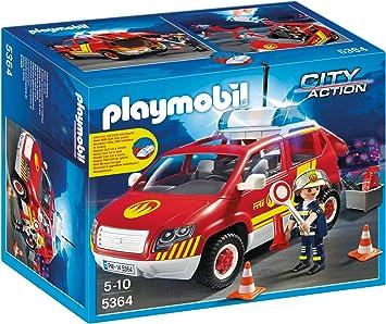 Oferta amazon: Playmobil Bomberos - Coche jefe con luces y sonidos, playset (5364)