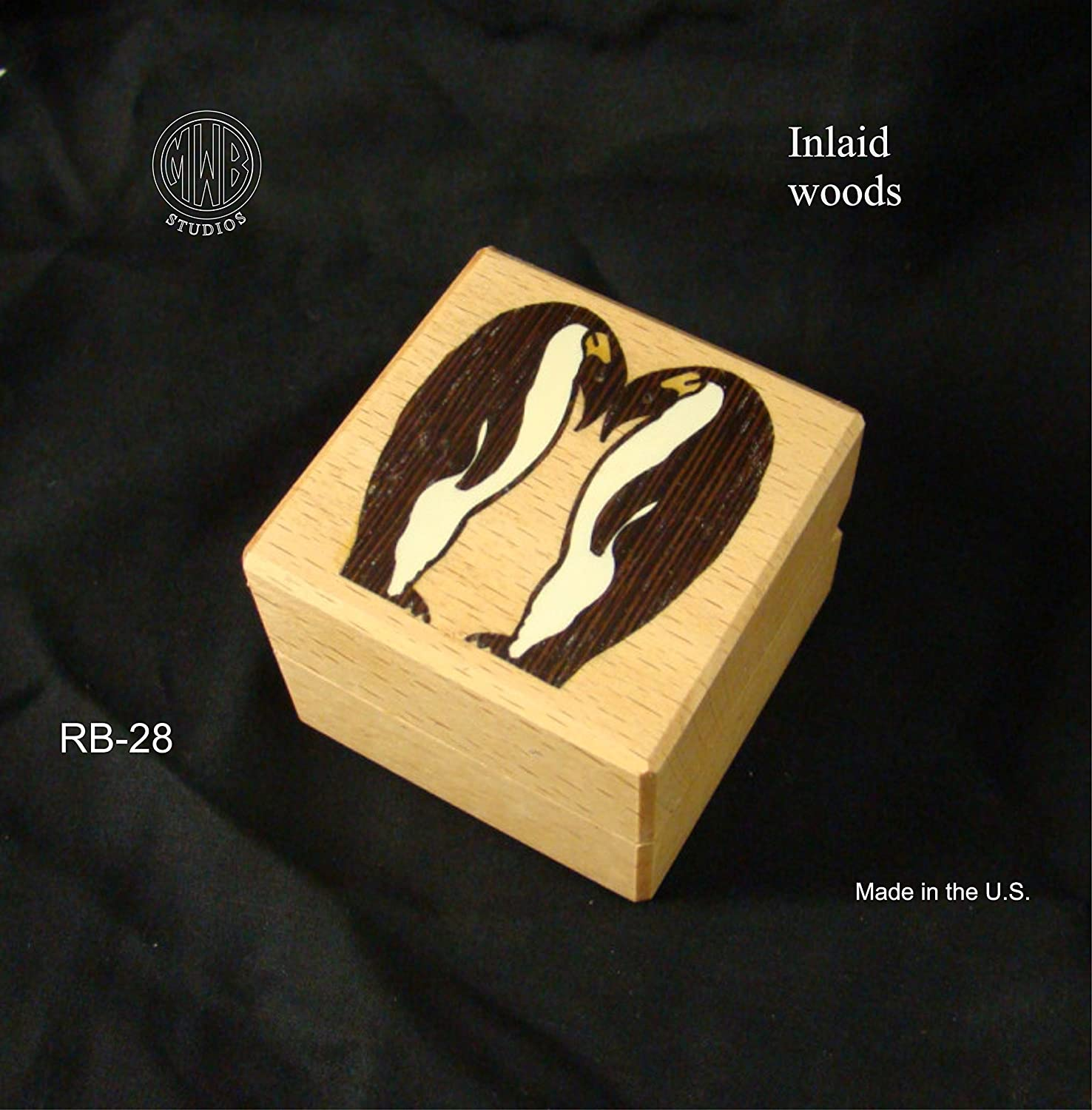 Handcrafted Wood Engagment Ring Box with Penguins