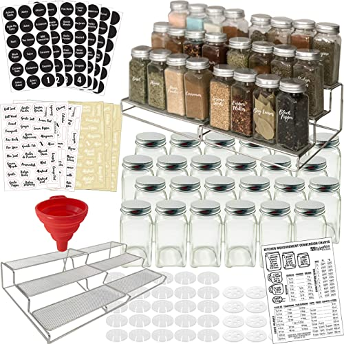Spice Racks with 24 Glass Spice Jars 2 Types of Printed Spice Labels by Talented Kitchen. Complete Set 2 Shelf Stainless Steel 3-Tier Racks, 24 Square Empty Glass Jars 4oz, Chalkboard Clear Label