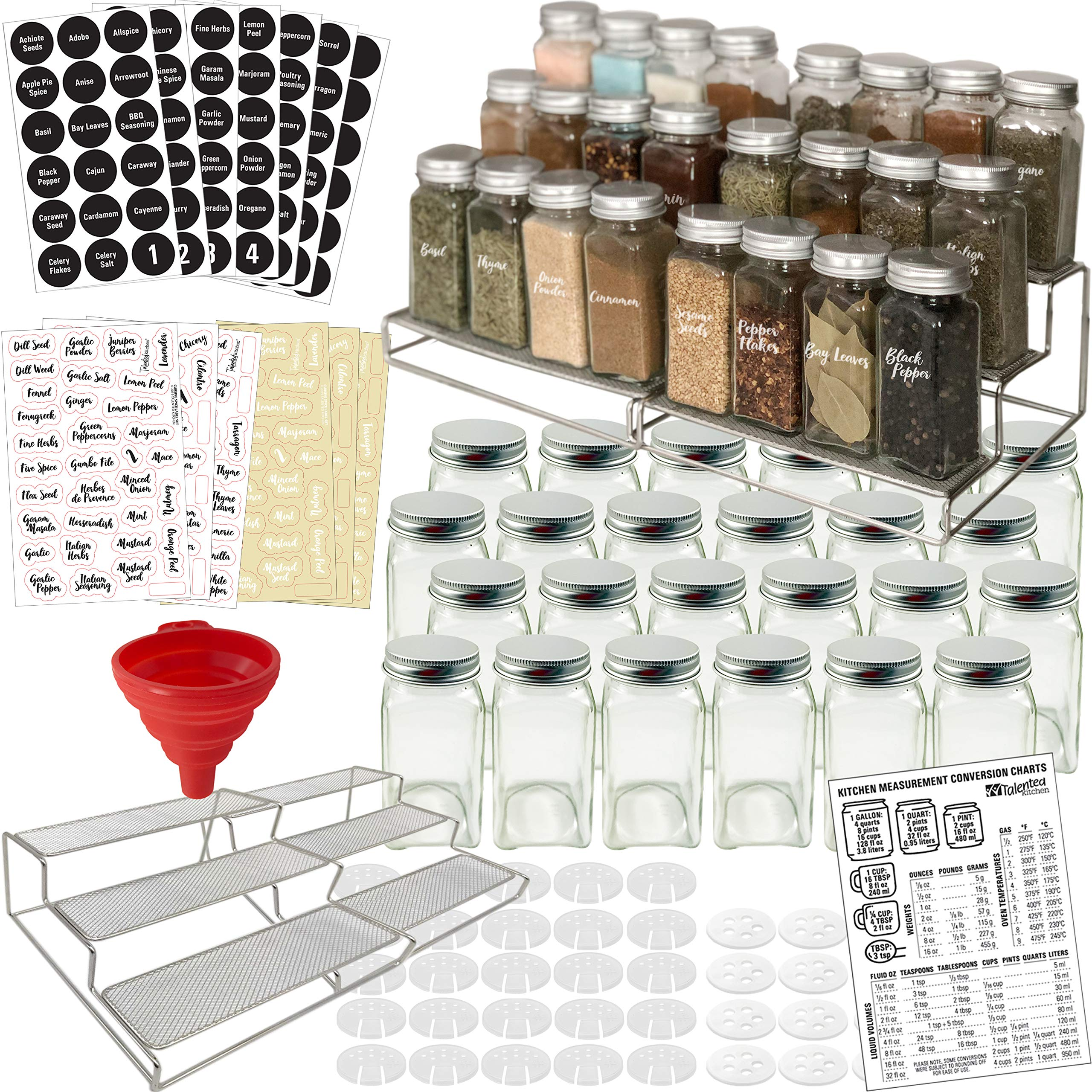 3-Tier Spice Racks and 24 Glass Spice Jar & 2 Types of Printed Spice Labels by Talented Kitchen. Complete Set: 2 Shelf Stainless Steel Racks, 24 Square Empty Glass Jars 4oz, Chalkboard & Clear Label by Talented Kitchen