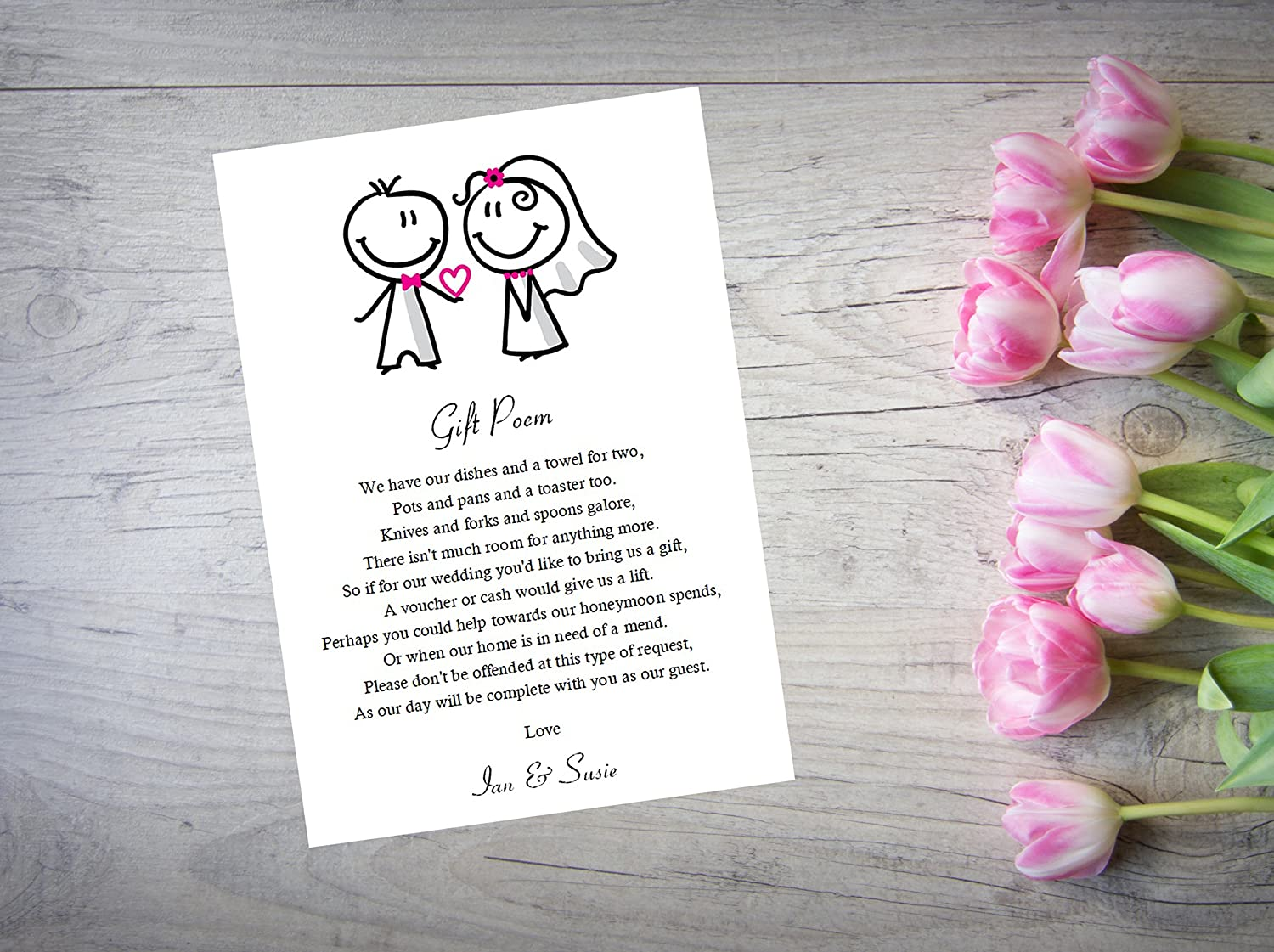 Personalised Wedding Gift Poem Money Request Cards Favour X 10 Lavendar WI32