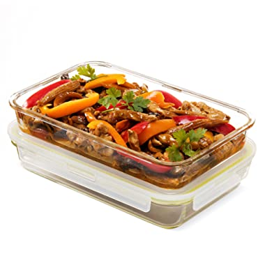 Komax Oven Safe Glass Casserole Baking Dish Set of 2 - Large 12 by 8 inch Food Storage Roasting Lasagna Pan - Airtight Container With Locking Lids - BPA Free - 64oz.