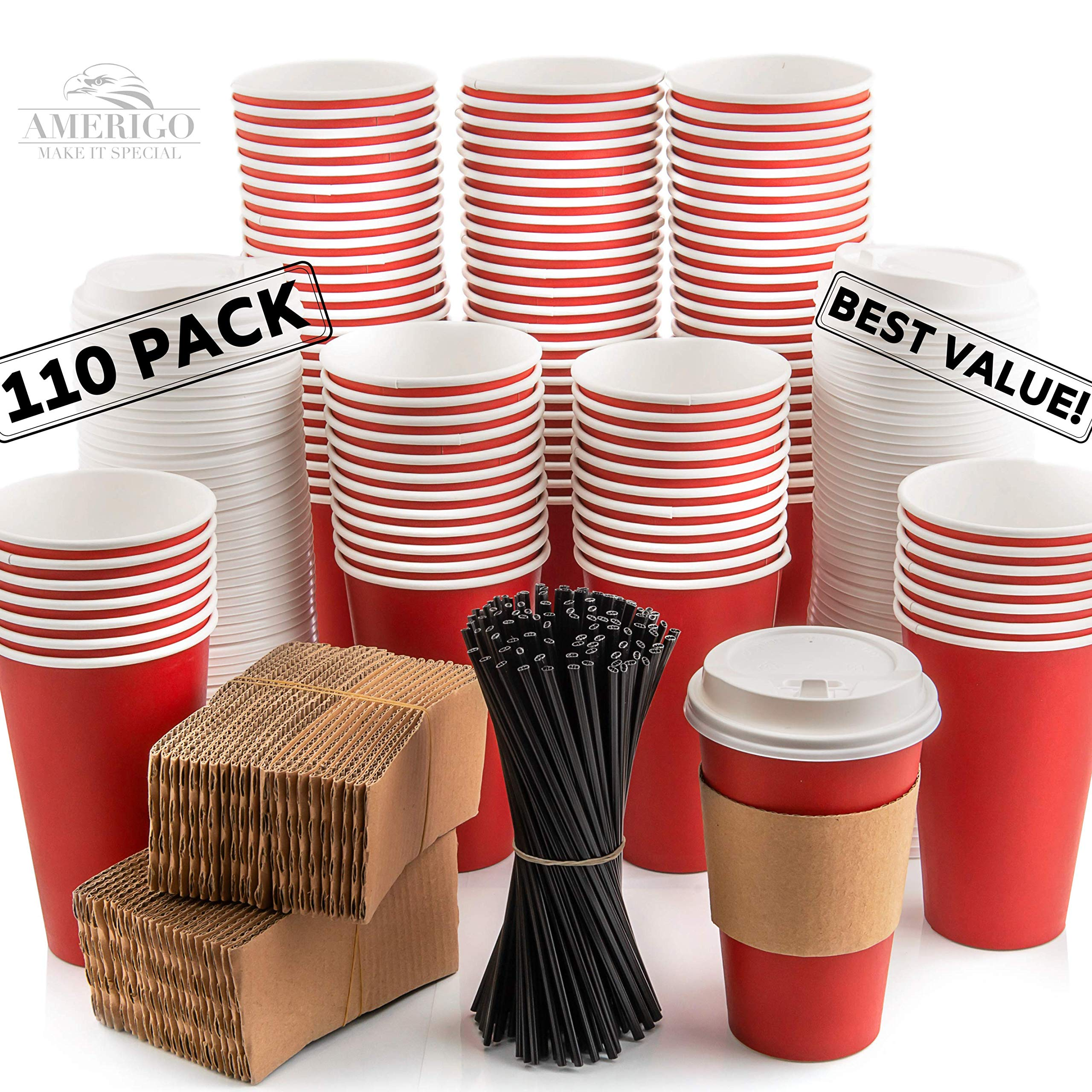 110 Pack Disposable Coffee Cups with Lids - Premium Quality 16 oz To Go Coffee Cups with Sleeves, Tight Lids to Prevent Leaks & Straws - This Paper Hot Cup Holds Shape With Hot Drinks - Cherry Red by Amerigo