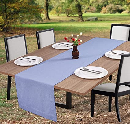 Merveilleux Table Runner 90 Inch,100% Cotton Chambray Fabric With Picotting Decor At  Edge,