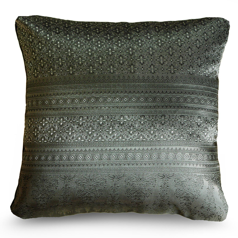 Handmade Throw Pillow Covers Art Decorative Thai silk Sukhothai design Thread 16''x16'' Grey