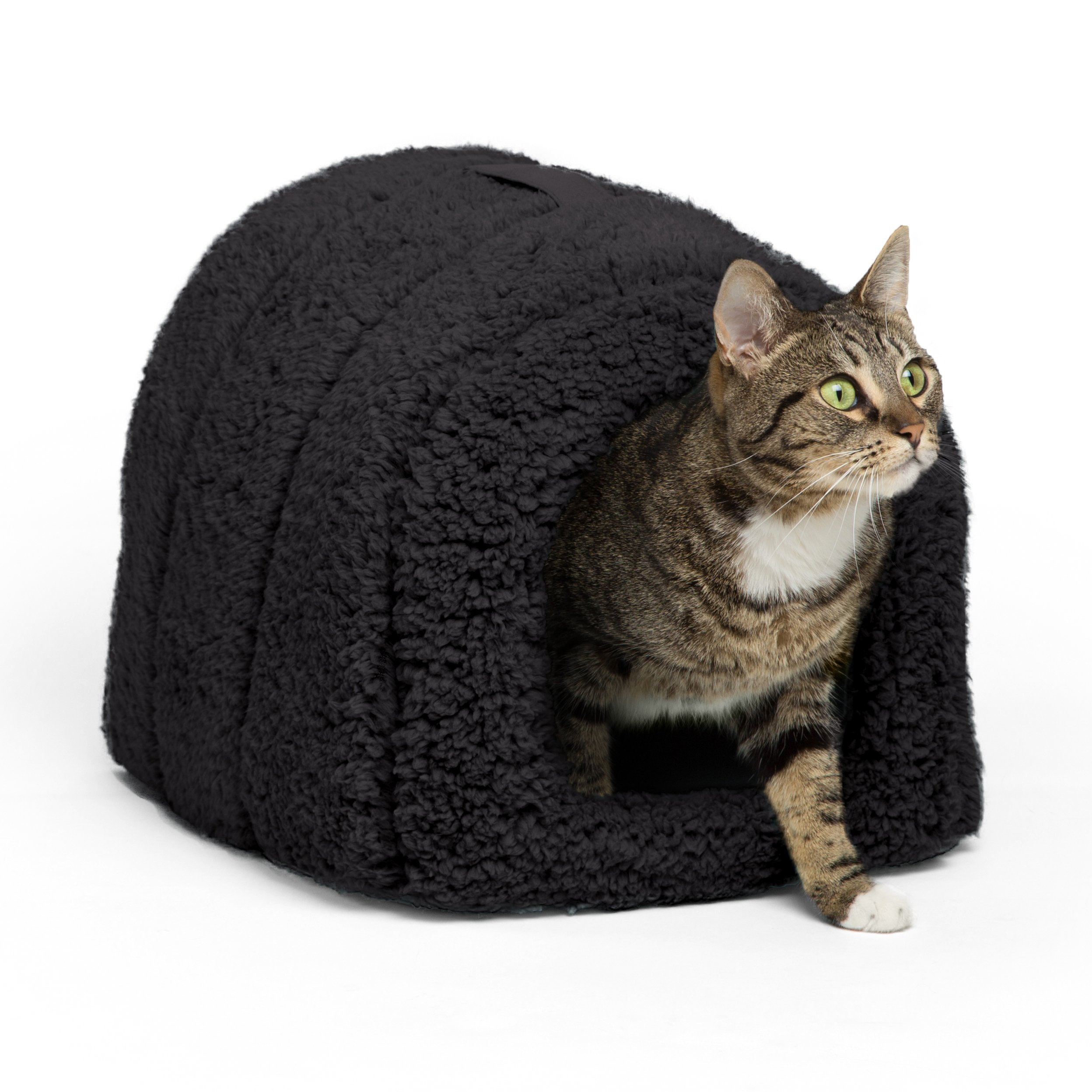 Best Friends by Sheri Pet Igloo Hut, Sherpa, Black - Cat and Small Dog Bed Offers Privacy and Warmth for Better Sleep - 17x13x9'' - For Pets 9lbs or Less