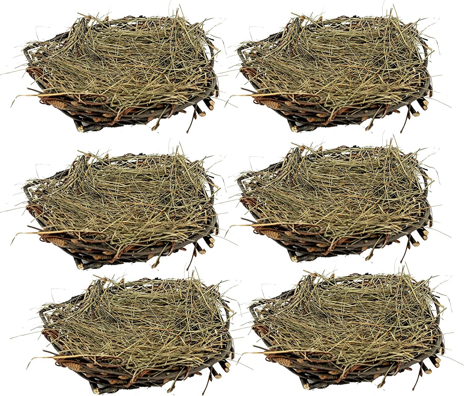 Vita Domi 4 inch Twig and Grass Bird Nest 6 Pack Natural Craft and Decoration