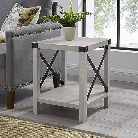 walker edison sedalia modern farmhouse metal x side table 18 inch stone grey