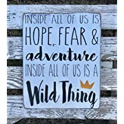 Ballkleid Inside All of Us is A Wild Thing Hand Painted Wood Sign Where The Wild Things are Wild One Birthday Decor Nursery Decor Boy Room