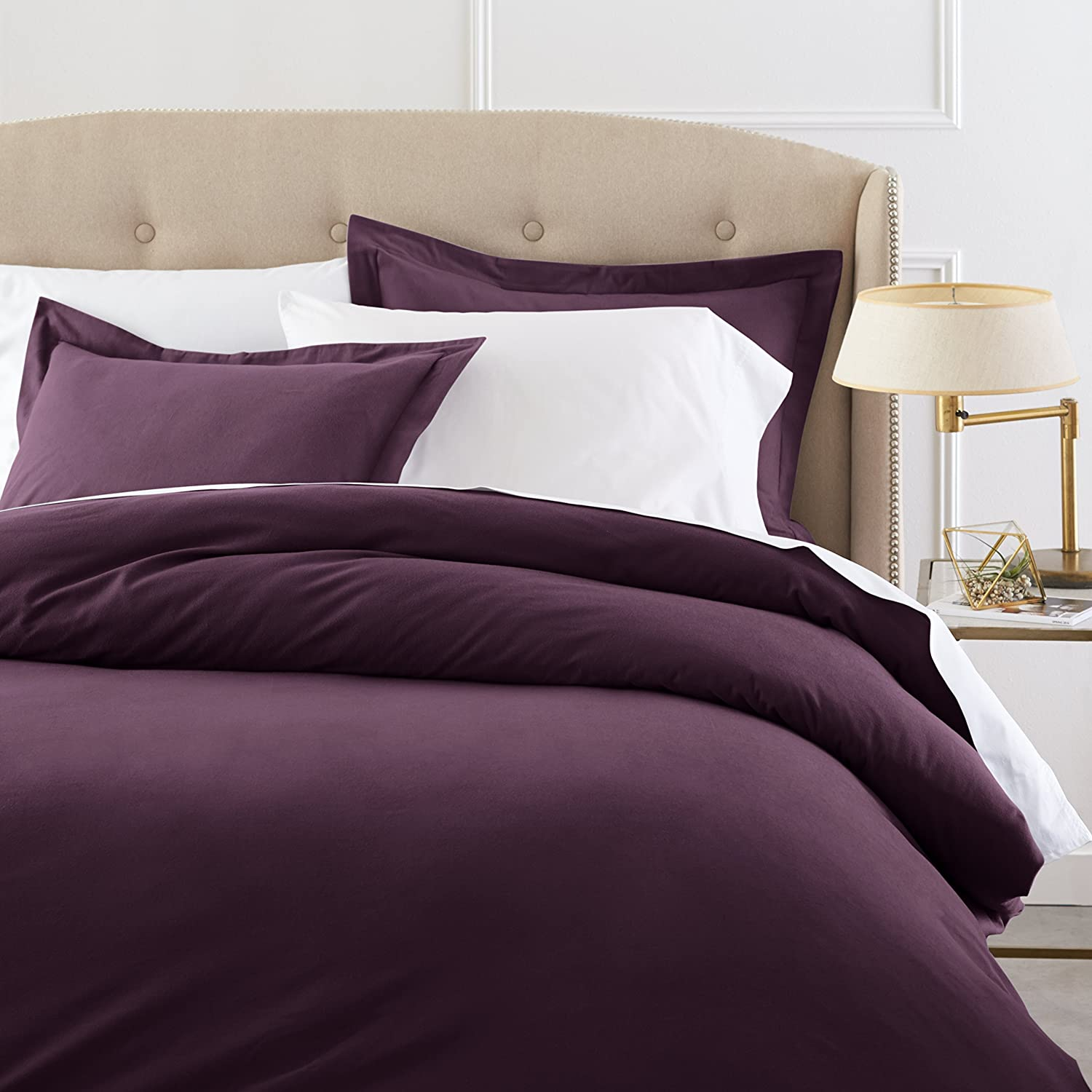 Pinzon Heavyweight Cotton Flannel Duvet Set - Full/Queen, Aubergine