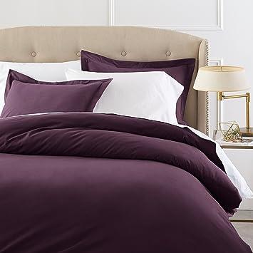 pinzon signature 190gram cotton velvet flannel fullqueen duvet cover set aubergine - Flannel Duvet Cover