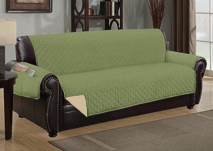 Sofa Guard Deluxe Reversible Sofa Furniture Protector, Sage / Tan