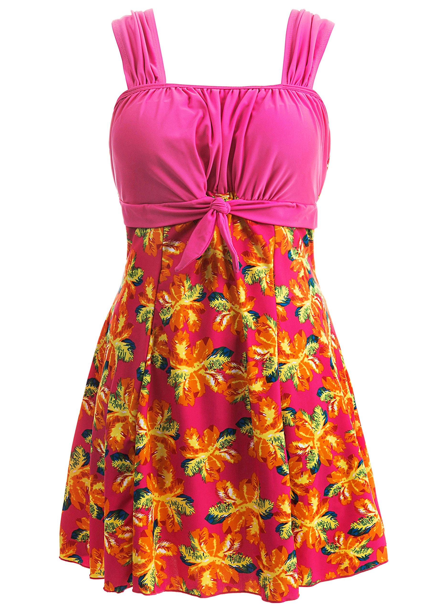 Wantdo Women's Bowknot Dress Cover Up Swimwear Beach Suit Beachwear Plus Size Roseflower US 16-18