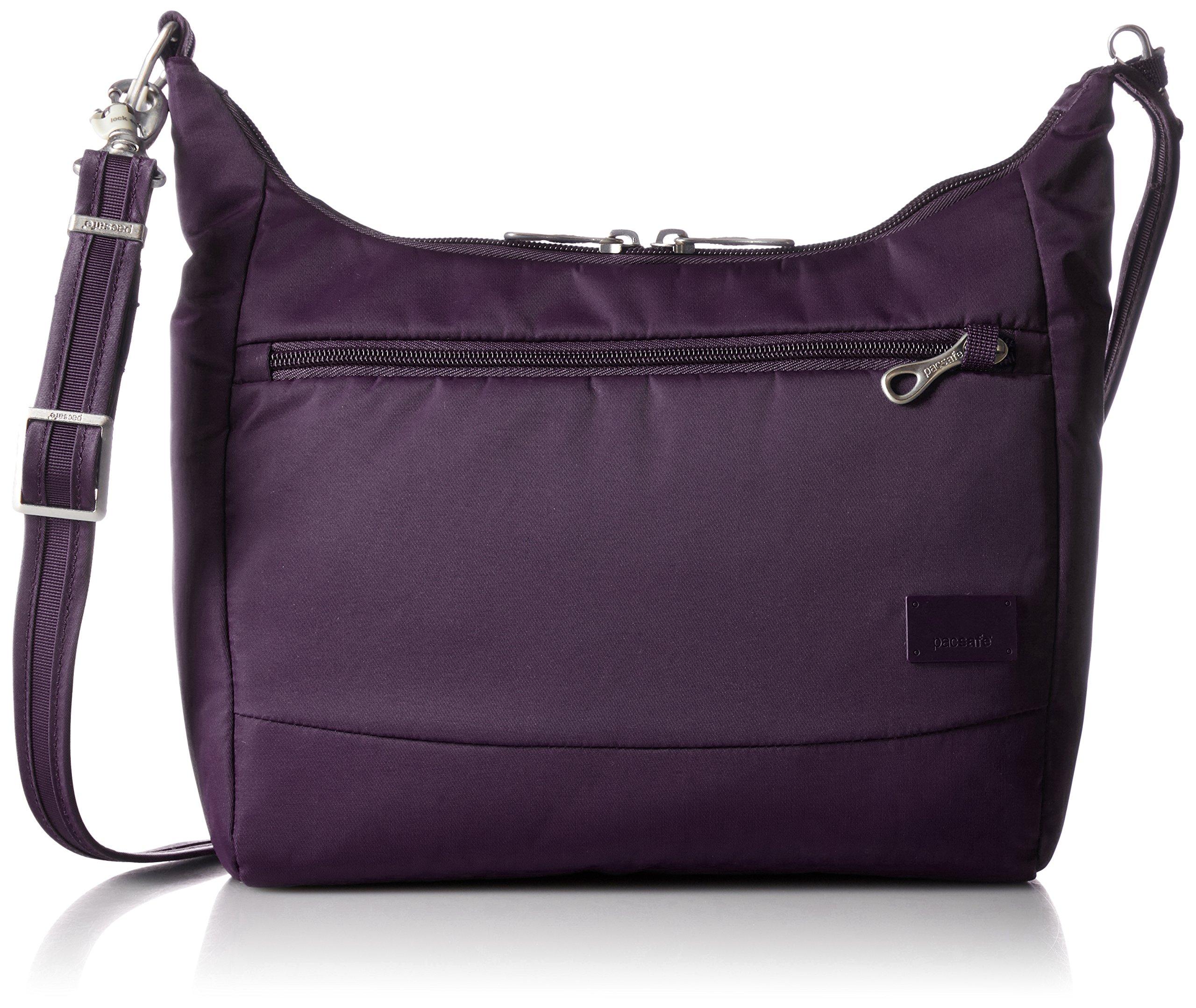 PacSafe Women's Citysafe Cs100 Anti-Theft Handbag Travel Cross-Body Bag, Mulberry, One Size