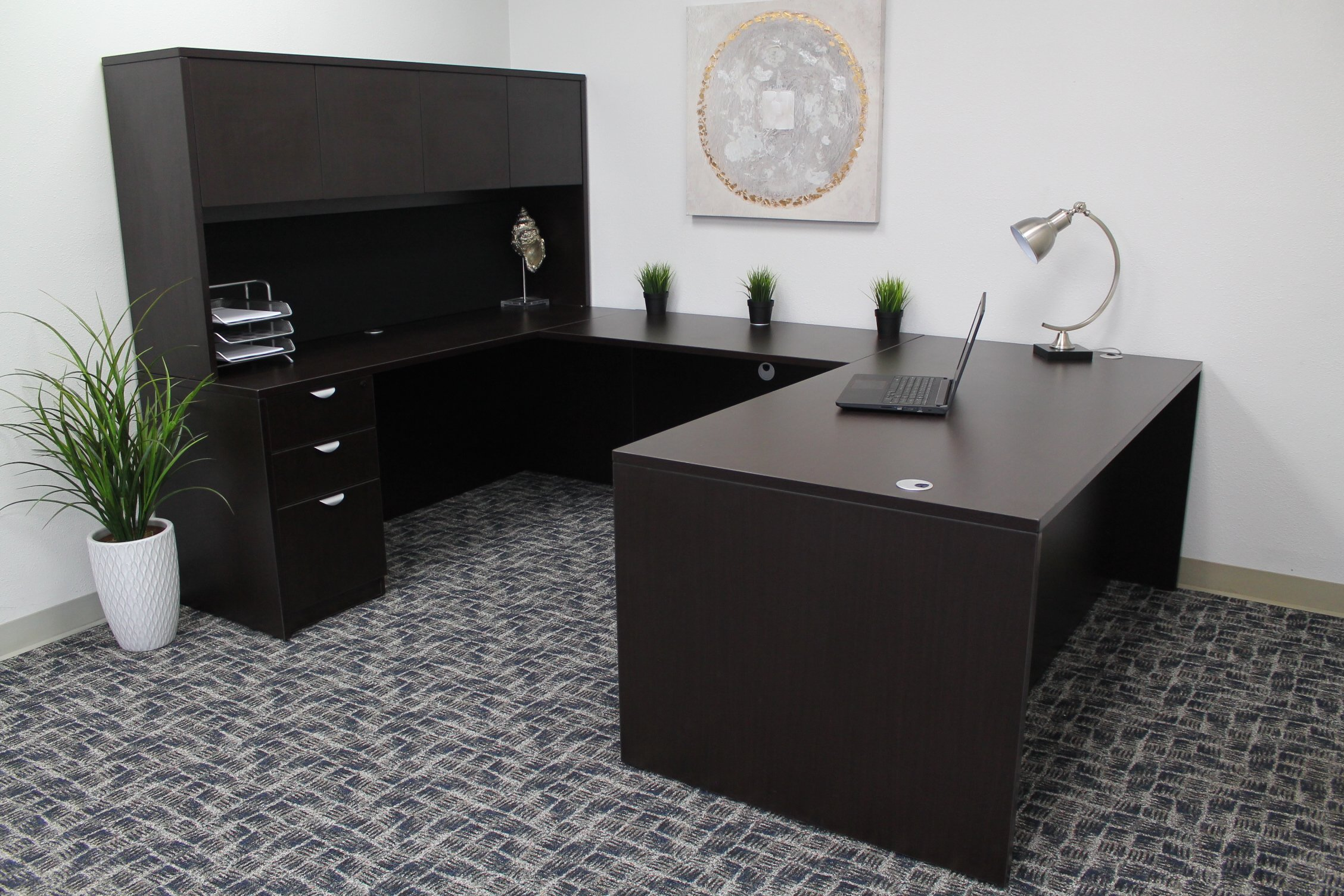 Boss Office Products Holland 71'' Executive U-Shape Desk with File Storage Pedestal and Hutch, Mocha by Boss Office Products (Image #3)