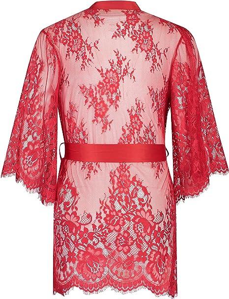 HUNKEM/ÖLLER Damen Kimono Isabelle aus transparenter Spitzenseide als Detail mit weiten /Ärmeln und G/ürtel