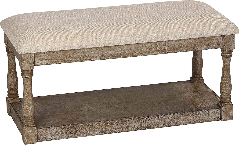 Cortesi Home Dahlia Wooden Bench Ottoman, 36