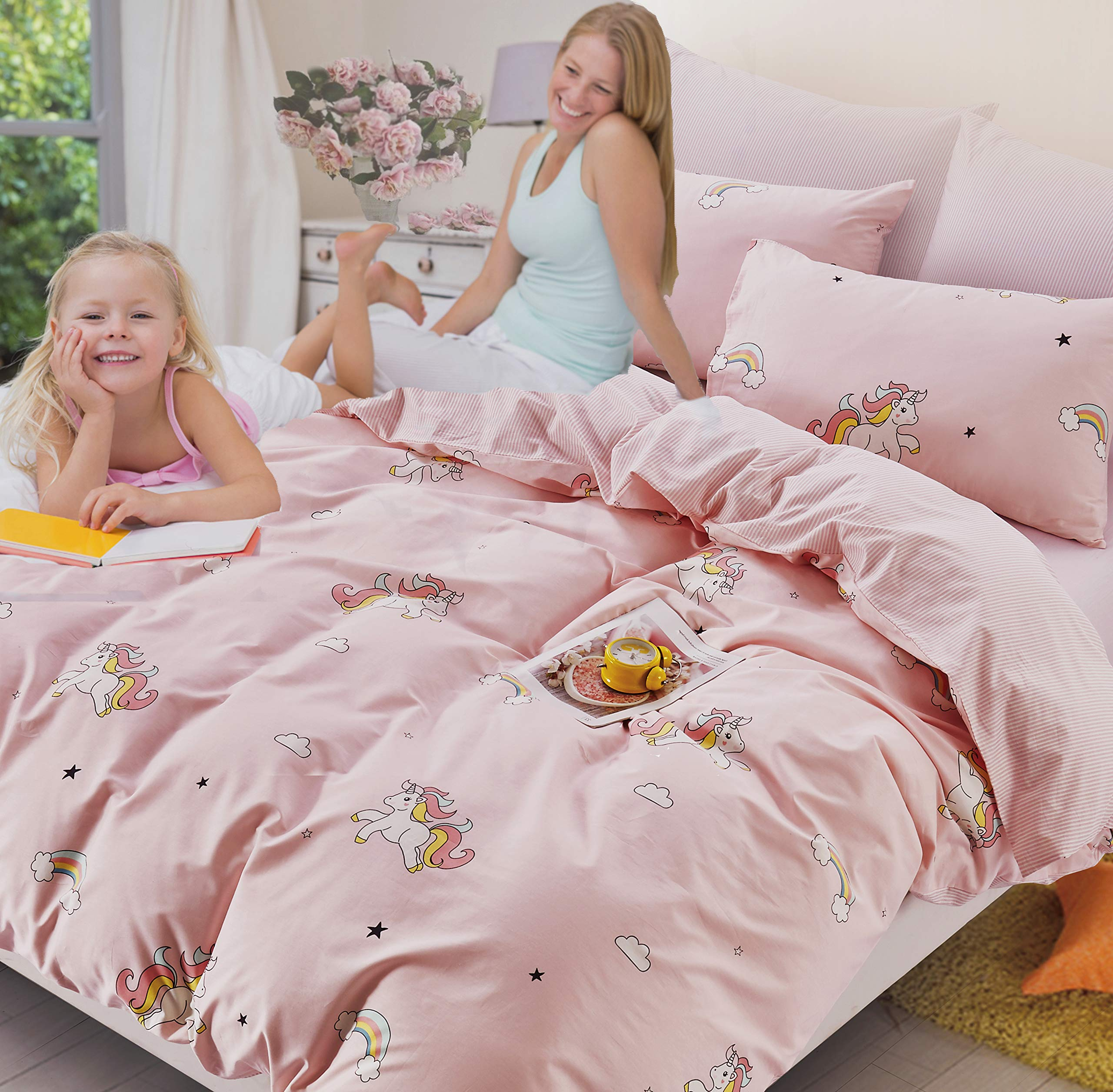 ELLE & KAY Unicorns Duvet Cover Set/Unicorn Kids Bedding/ 100% Cotton Queen Zipper Bedding/Full Reversible Girls Comforter Cover/ 3 Piece Queen Duvet Cover Set. by ELLE & KAY (Image #3)